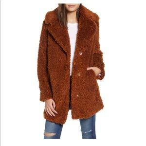 Kensie Faux Shearling Reversible Oversized Coat-L